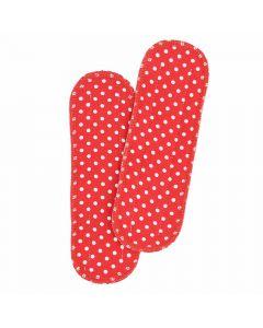 Einlagen für Ellas Bio-Stoffbinden - rot mit weißen Punkten