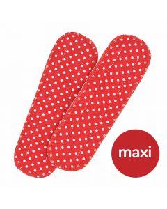 Maxi Einlagen für Maxi Bio-Stoffbinden - rot mit weißen Punkten