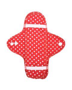 Ellas Bio-Stoffbinde und Einlage - rot mit weißen Punkten