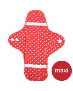 Maxi Bio-Stoffbinde und Einlage - rot mit weißen Punkten