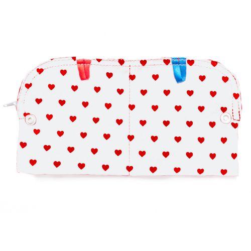 Bindentäschchen für Stoffbinden - weiß mit roten Herzen