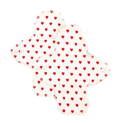 Ellas Bio-Stoffslipeinlagen - rote Herzen