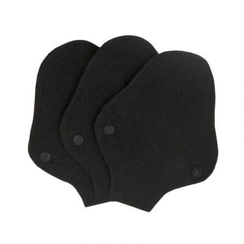 Stoffslipeinlagen Tanga aus Bio-Baumwolle 3 Stück schwarz